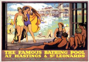 The Famous Bathing Pool, Hastings & St Leonards, Sussex. Vintage LMS Travel poster